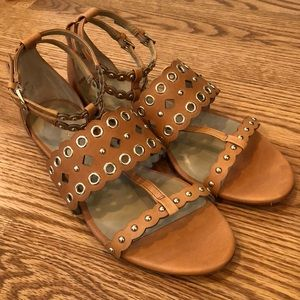 Ann Taylor leather grommet detail sandals